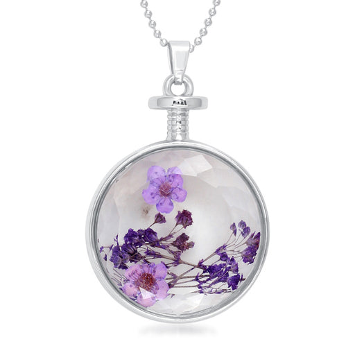 Urthn Purple Floral Gold Plated Chain Pendant