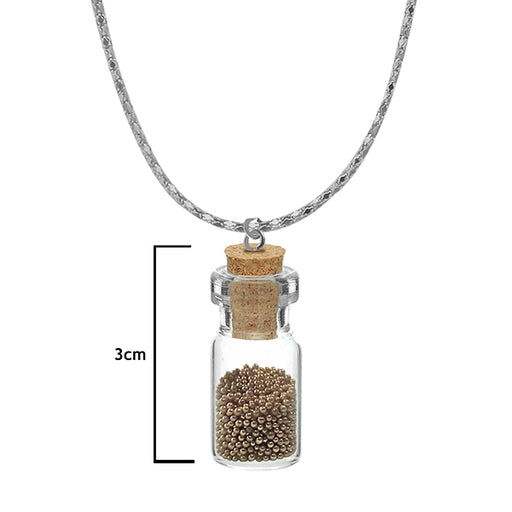 Urthn Golden Beads Silver Plated Glass Chain Pendant
