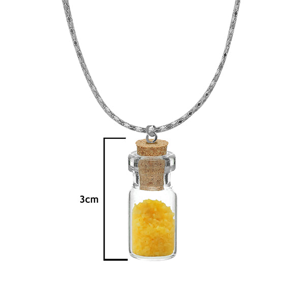 Urthn Yellow Beads Silver Plated Glass Chain Pendant