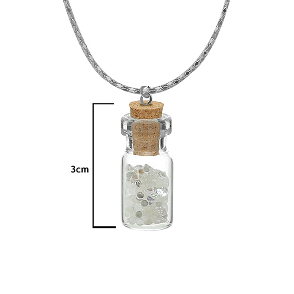 Urthn White Stone Silver Plated  Glass chain Pendant