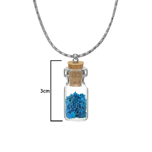 Urthn Blue Star Silver Plated Glass Chain Pendant