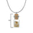 Urthn Multi Gem Stone Silver Plated  Glass Chain Pendant