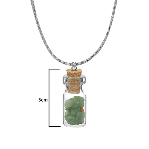 Urthn Green Gem Stone  Silver Plated Glass Chain Pendant