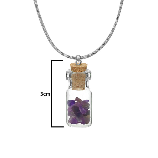 Urthn Purple Gem Stone Silver Plated Glass Chain Pendant