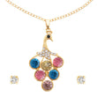 Kriaa Multi Stone Gold Plated Peacock Design Chain Pendant Set