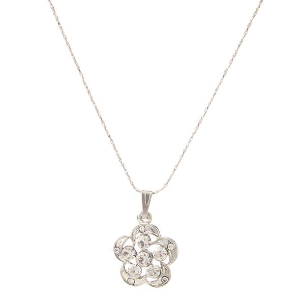 Eugenia Austrian Stone Floral Silver Plated  Chain Pendant