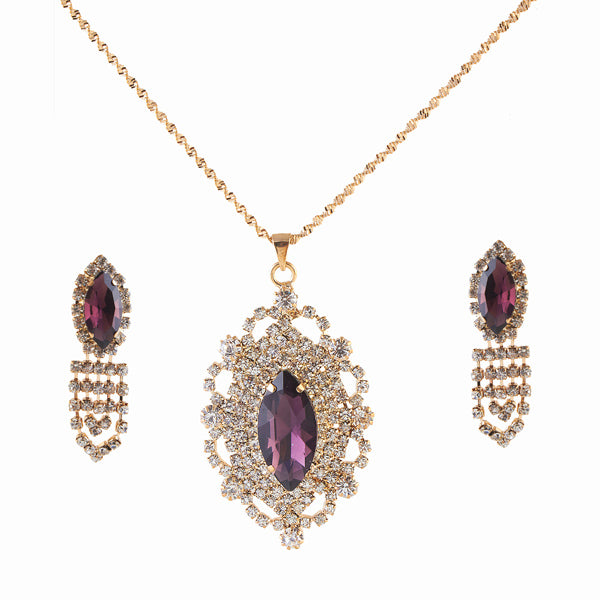 Kriaa Purple Austrian Stone Gold Plated Chain Pendant