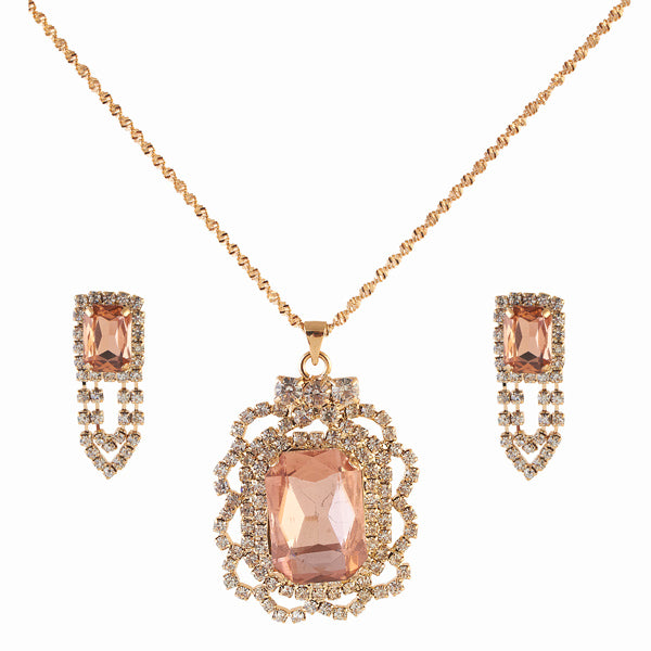 Kriaa Orange Austrian Stone Gold Plated Pendant Set