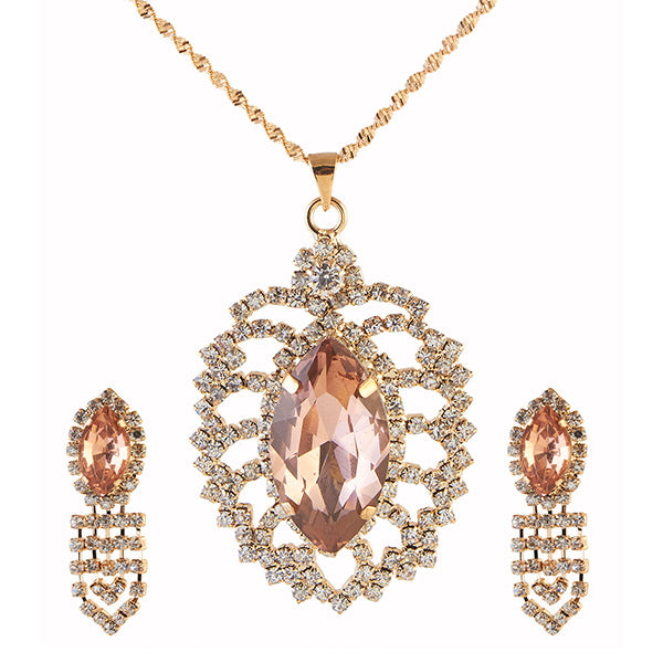 Kriaa Brown Austrian Stone Gold Plated Pendant Set