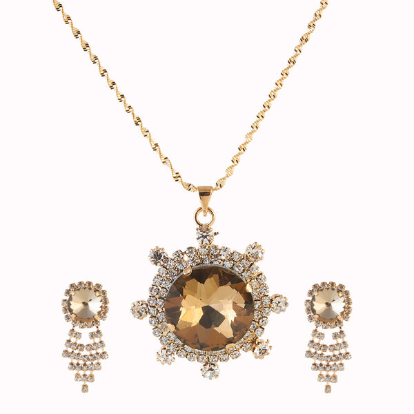 Kriaa Yellow Austrian Stone Gold Plated Pendant Set