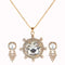 Kriaa White Austrian Stone Gold Plated Pendant Set