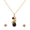 Kriaa Gold Plated Purple Stone Pendant Set
