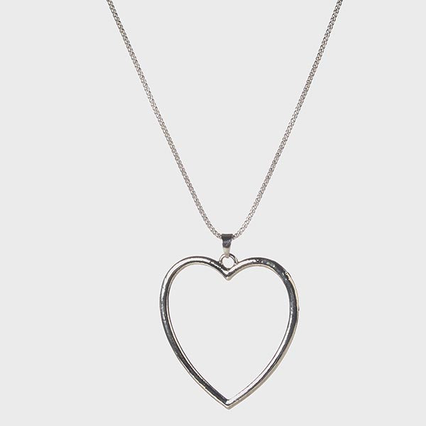 Urthn Heart Shape Rhodium Plated  Chain Pendant