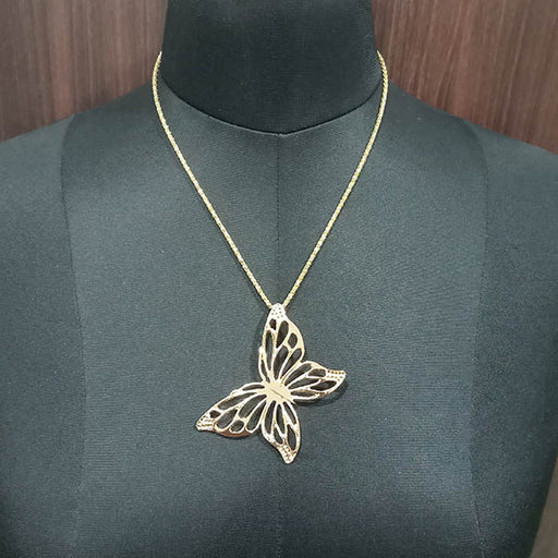 Urthn Butterfly Design Gold Plated Chain Pendant