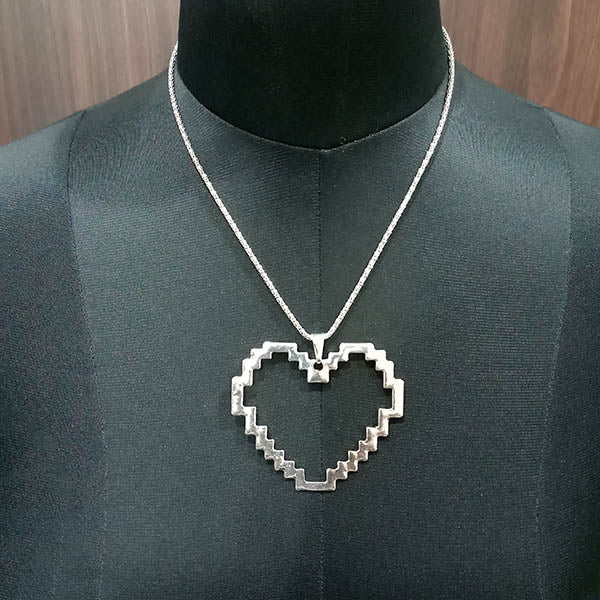 Urthn Rhodium Plated Heart Shape Chain Pendant