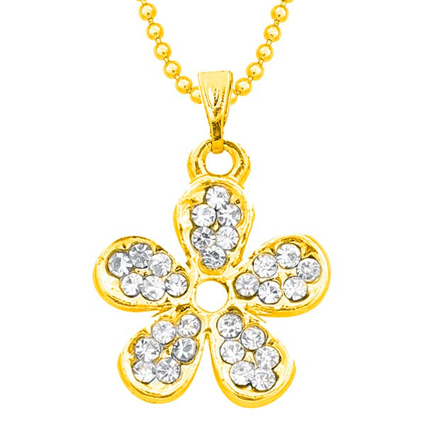 Regina Gold Plated Austrian Stone Floral Chain Pendant
