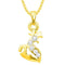 Kriaa Gold Plated Austrian Stone Chain Pendant  - 1203118B - AS