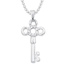 Kriaa Key Design Rhodium Plated Chain Pendant - 1203120A - FS