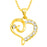 Kriaa Austrian Stone Gold Plated Heart Shape Chain Pendant