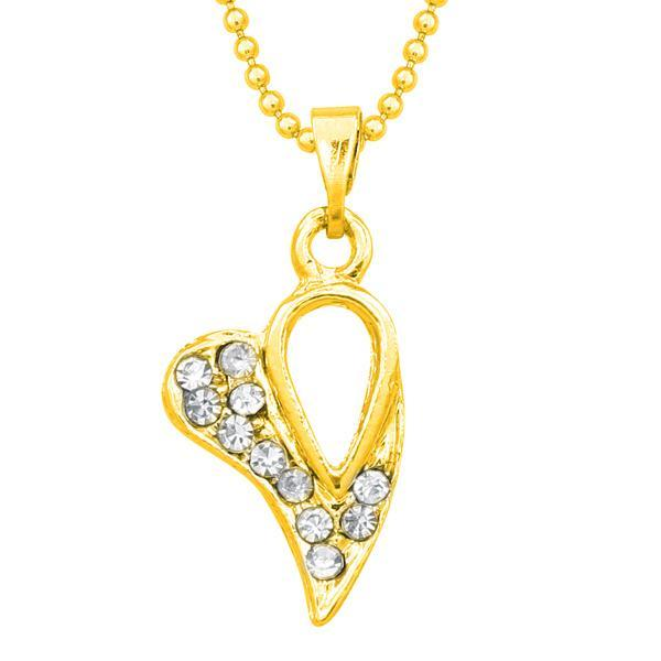 14Fashions Austrian Stone Heart Shape Chain Pendant  - 1203124B - AS