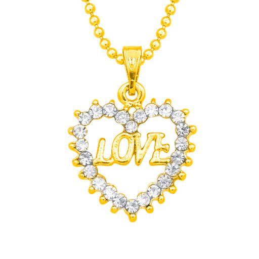 14Fashions Austrian Stone Heart Shaped Love Chain Pendant