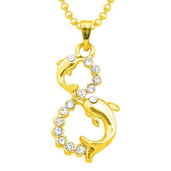 Regina Austrian Stone Gold Plated Chain Pendant  - 1203139B - AS