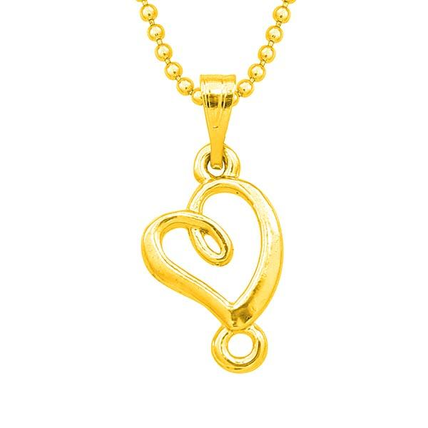Kriaa Heart Design Gold Plated Chain Pendant - 1203141B - FS