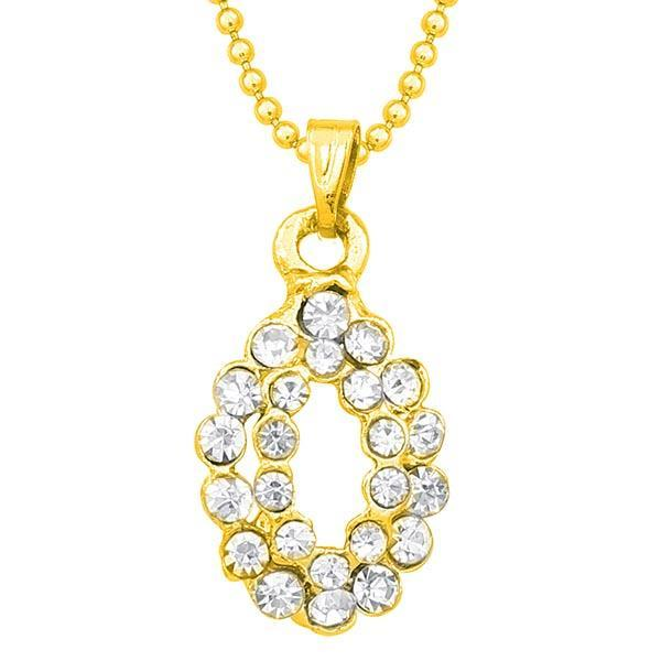 Kriaa Austrian Stone Gold Plated Chain Pendant  - 1203143B - AS