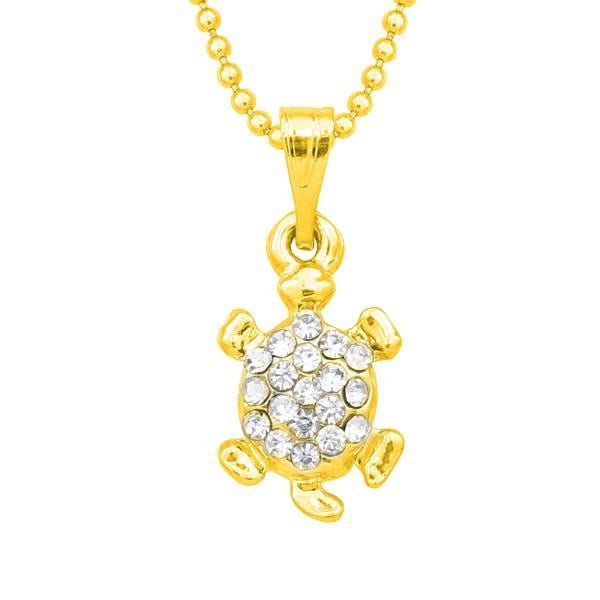 Regina Austrian Stone Gold Plated tortoise Chain Pendant  - 1203144B - AS