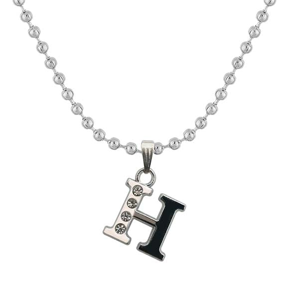 "Regina Rhodium Plated "" H "" Alphabet Chain Pendant"