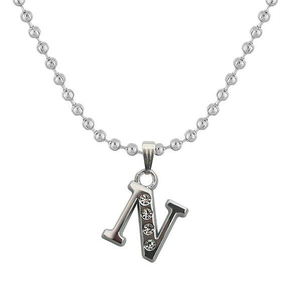 "Regina Rhodium Plated "" N "" Alphabet Chain Pendant  - 1203169 - AS"