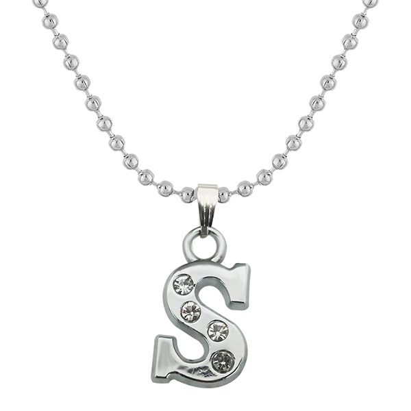 "Regina Rhodium Plated "" S "" Alphabet Chain Pendant"