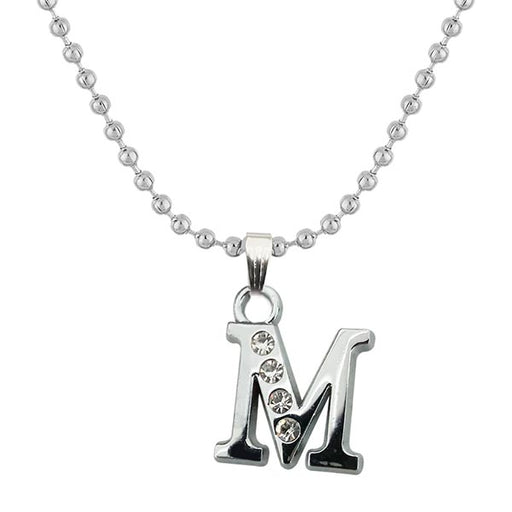 "Regina Rhodium Plated "" M "" Alphabet Chain Pendant"