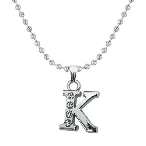 "Regina Rhodium Plated "" K "" Alphabet Chain Pendant"