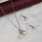 Kriaa Silver Plated White Austrian Stone And Peral Pendant Set - 1203307B