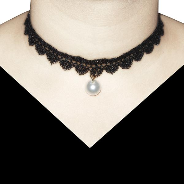 Jeweljunk Pearl Black Lace Choker Necklace - 1203605