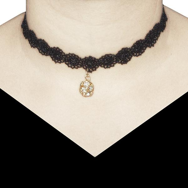 Jeweljunk Austrian Stone Black Lace Choker Necklace - 1203606