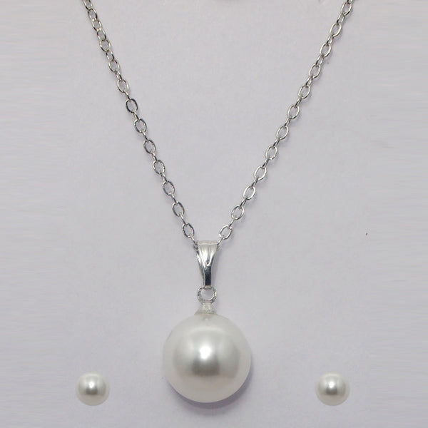 Kriaa White Pearl Chain Pendant Sets
