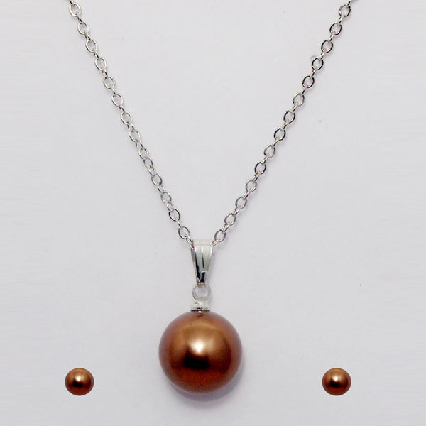 Urthn Rhodium Plated Brown Pearl Pendant Set