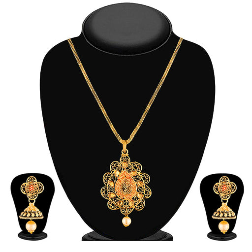 Kriaa Brown Kundan Stone Gold Plated Pendant Set