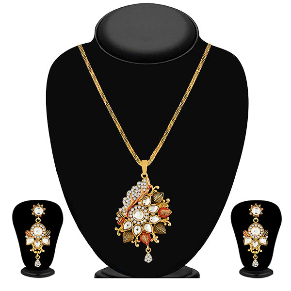 Kriaa Gold Plated White Kundan Stone Pendant Set