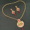 Kriaa Red Austrian Stone Gold Plated Pendant Set