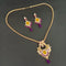 Kriaa Purple Austrian Stone Gold Plated Pendant Set