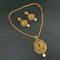 Kriaa Gold Plated Green Austrian Stone Pendant Set