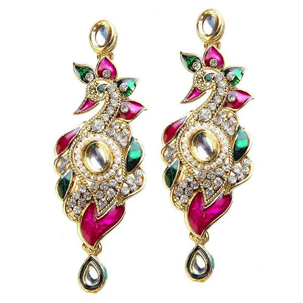 Kriaa Pink Meenakari Peacock Design Earrings