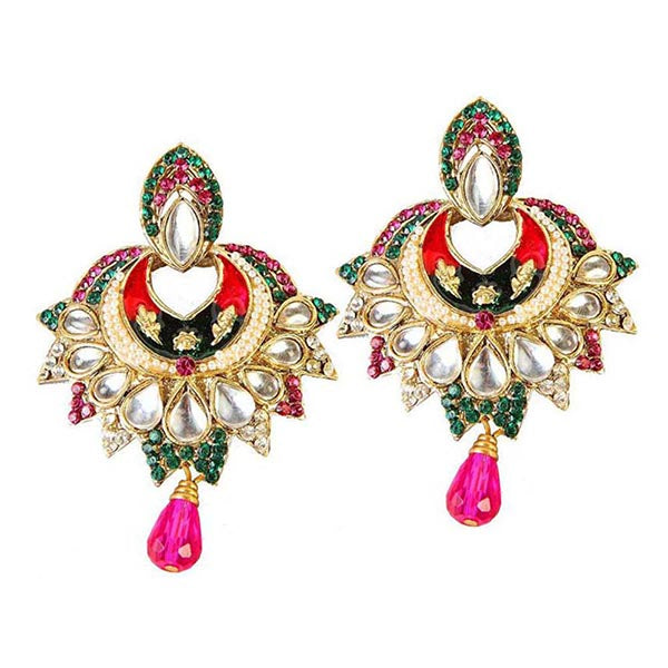 Kriaa Multicolor Stone Kundan Meenakari Dangler Earrings