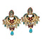 Kriaa Gold Plated Austrian Stone Meenakari Dangler Earrings