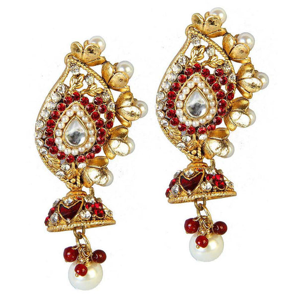 Soha Fashion Stone Gold Plated Pearl Drop Dangler Earrings