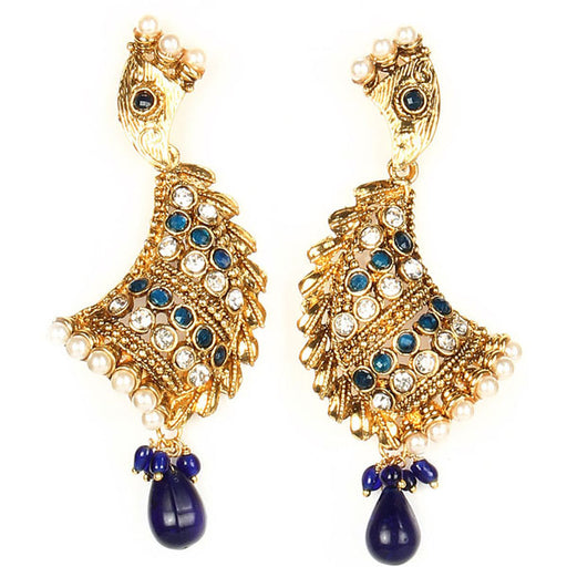 Kriaa Gold Plated Blue Austrain Stone Dangler Earrings