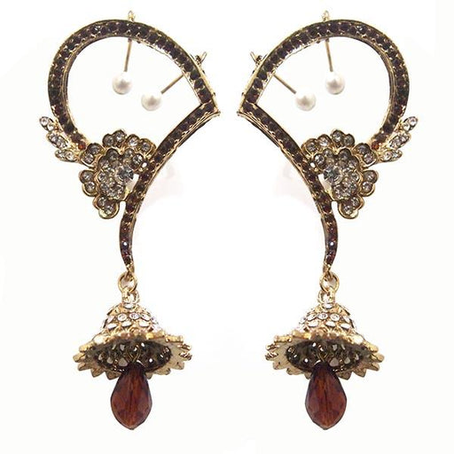 Kriaa Brown Austrian Stone Gold Plated  Ear Cuff Earrings